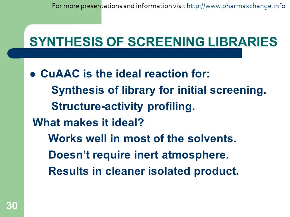 SYNTHESIS OF SCREENING LIBRARIES