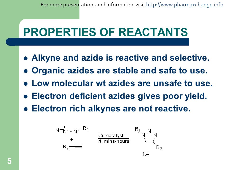 PROPERTIES OF REACTANTS