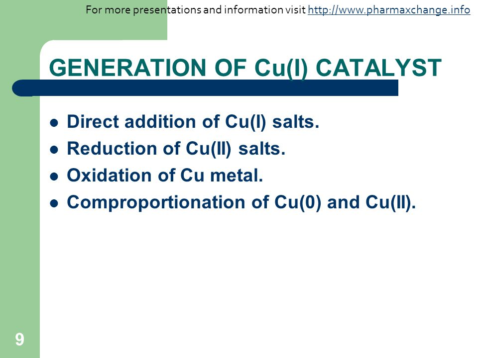 GENERATION OF Cu(I) CATALYST