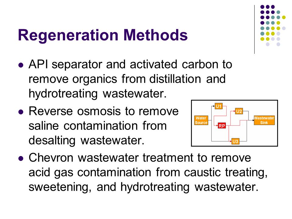 Regeneration Methods API separator and activated carbon to remove organics from distillation and hydrotreating wastewater.