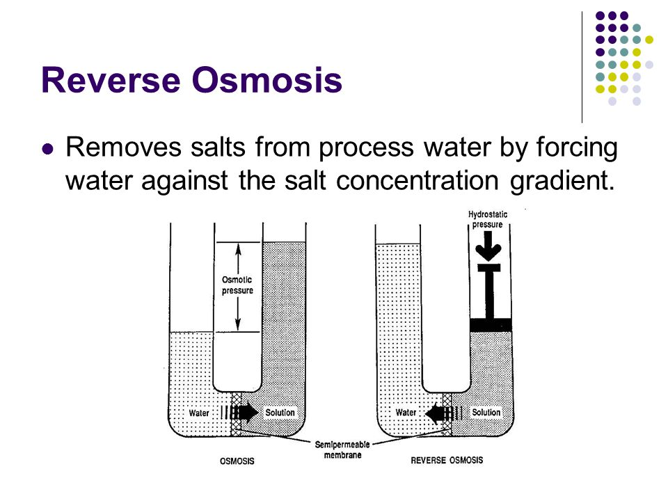Reverse Osmosis Removes salts from process water by forcing water against the salt concentration gradient.
