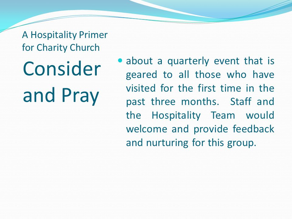 A Hospitality Primer for Charity Church