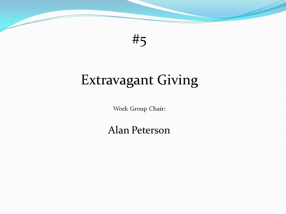 #5 Extravagant Giving Work Group Chair: Alan Peterson
