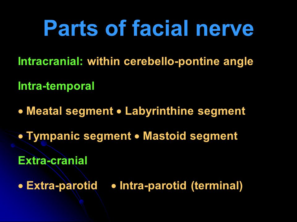Parts of facial nerve Intracranial: within cerebello-pontine angle