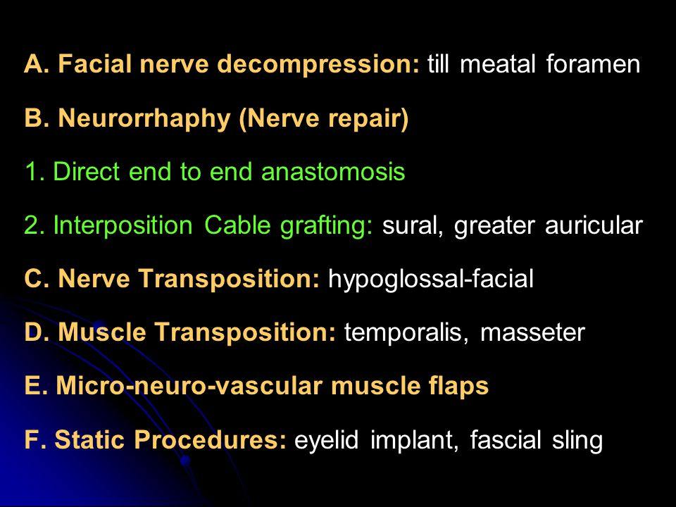 A. Facial nerve decompression: till meatal foramen