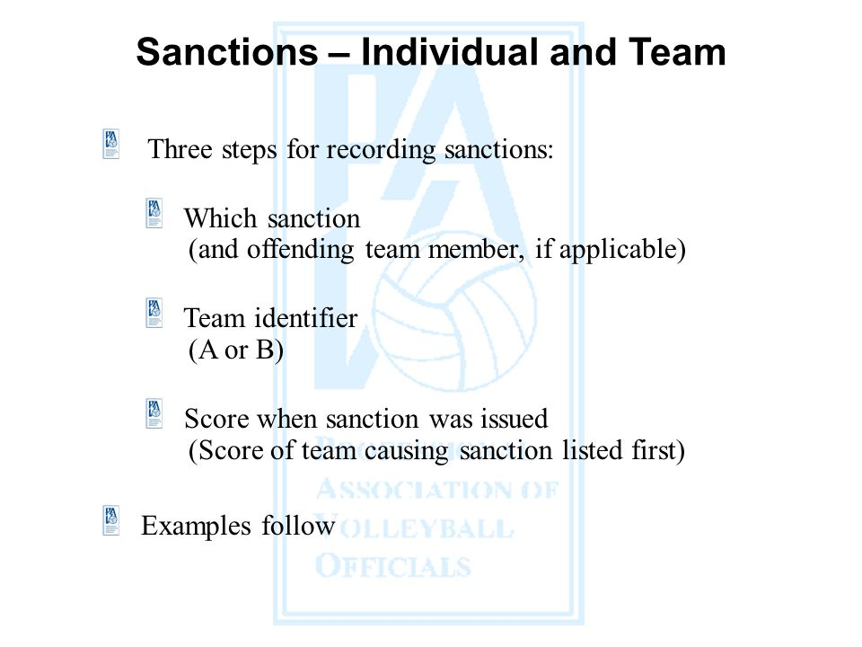 Sanctions – Individual and Team