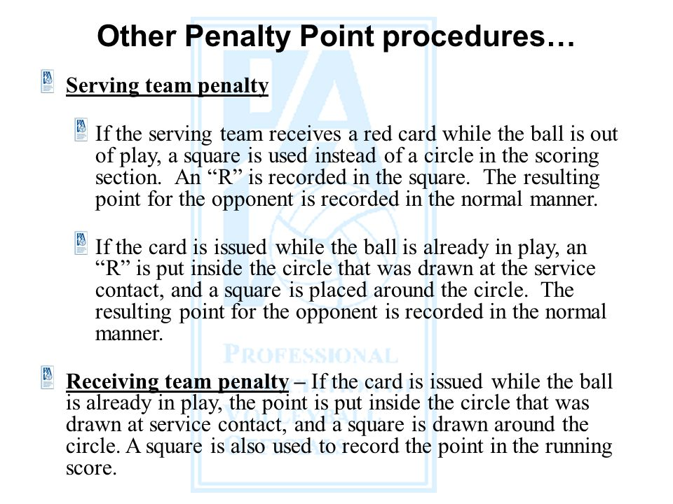 Other Penalty Point procedures…