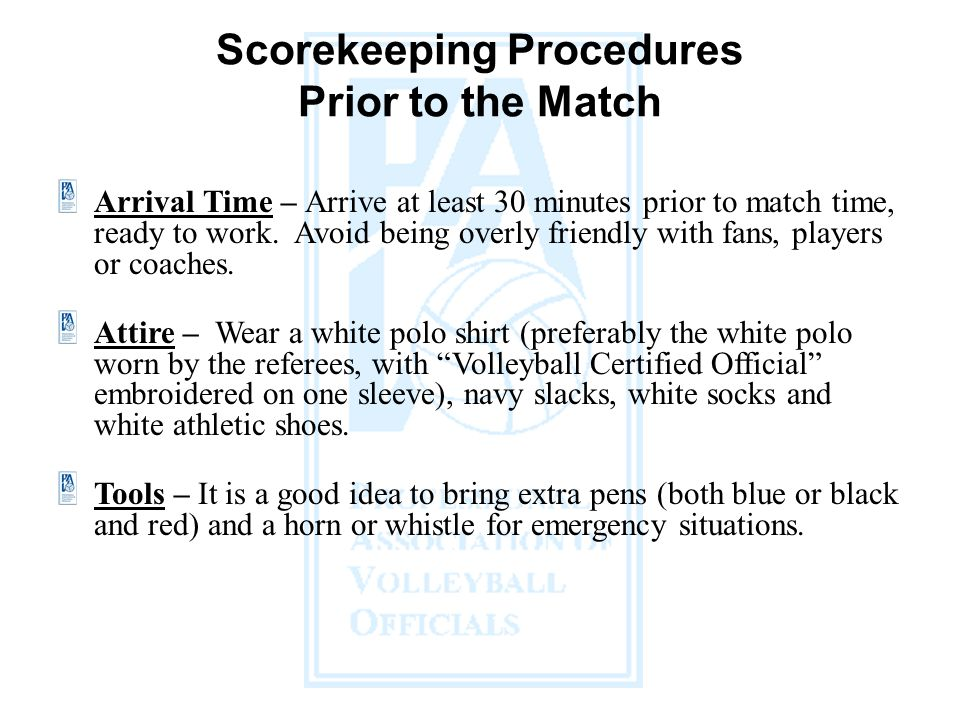 Scorekeeping Procedures Prior to the Match