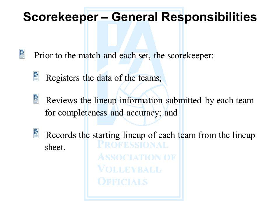 Scorekeeper – General Responsibilities