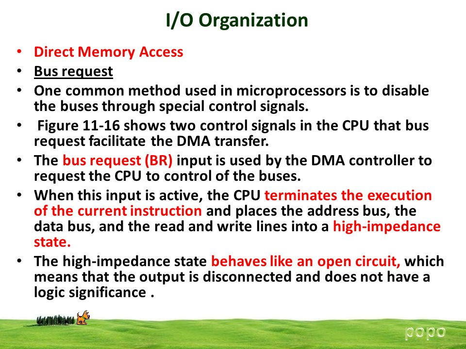 I/O Organization popo Direct Memory Access Bus request