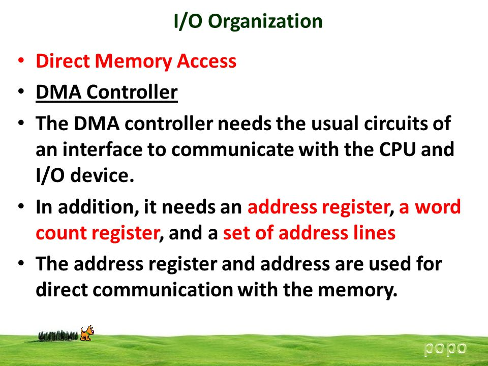 I/O Organization Direct Memory Access DMA Controller