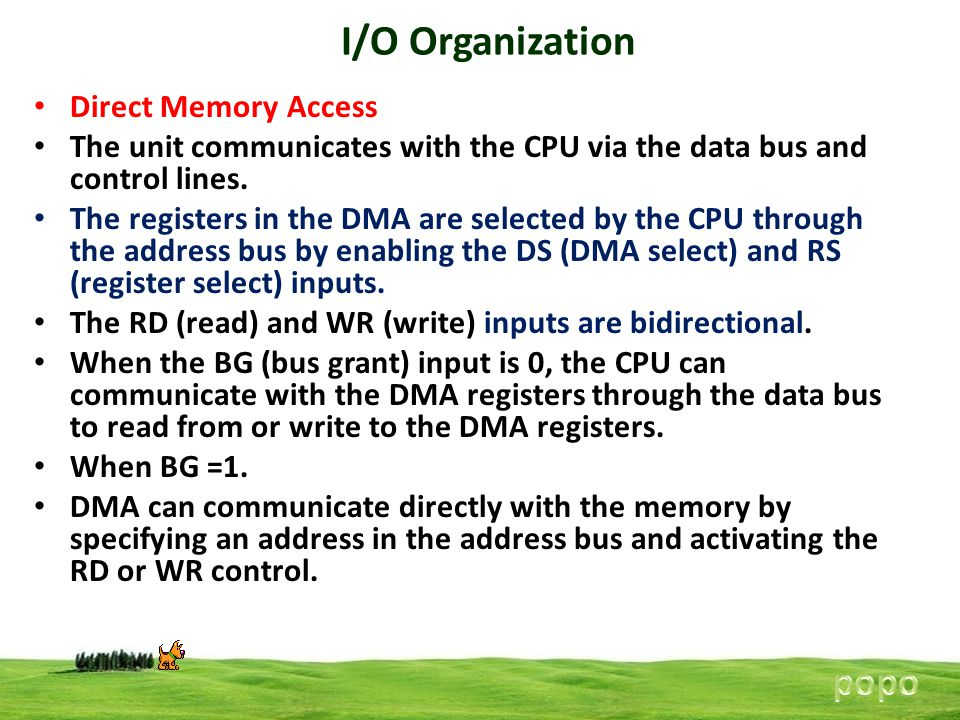 I/O Organization popo Direct Memory Access