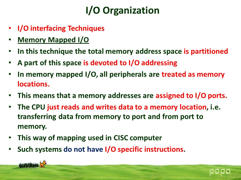 I/O Organization popo I/O interfacing Techniques Memory Mapped I/O
