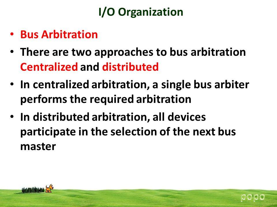 I/O Organization Bus Arbitration