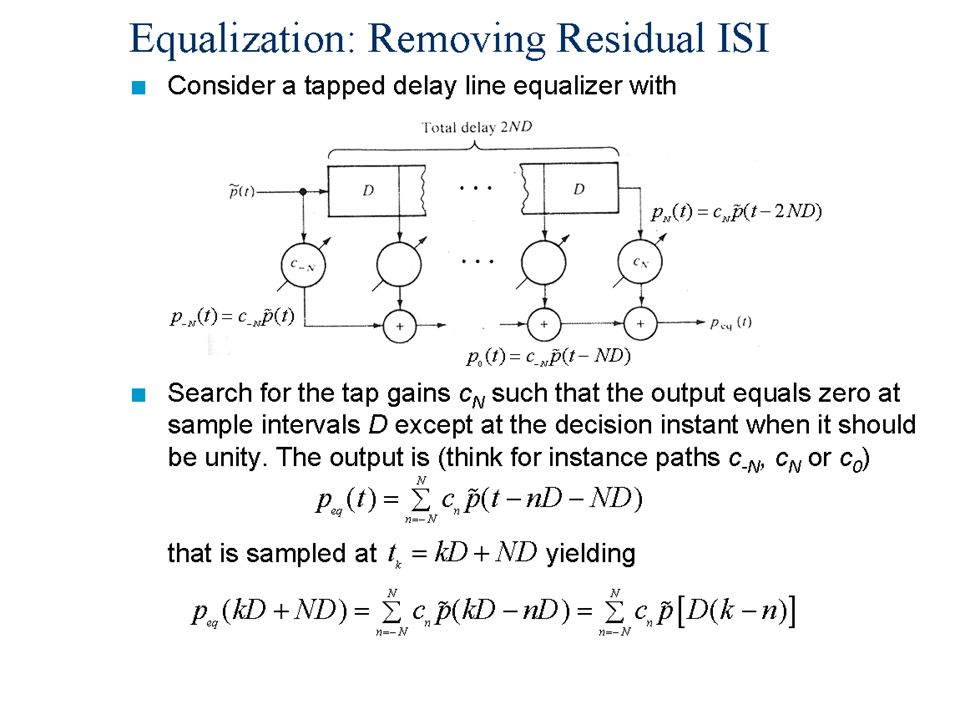 Equalization: Removing Residual ISI