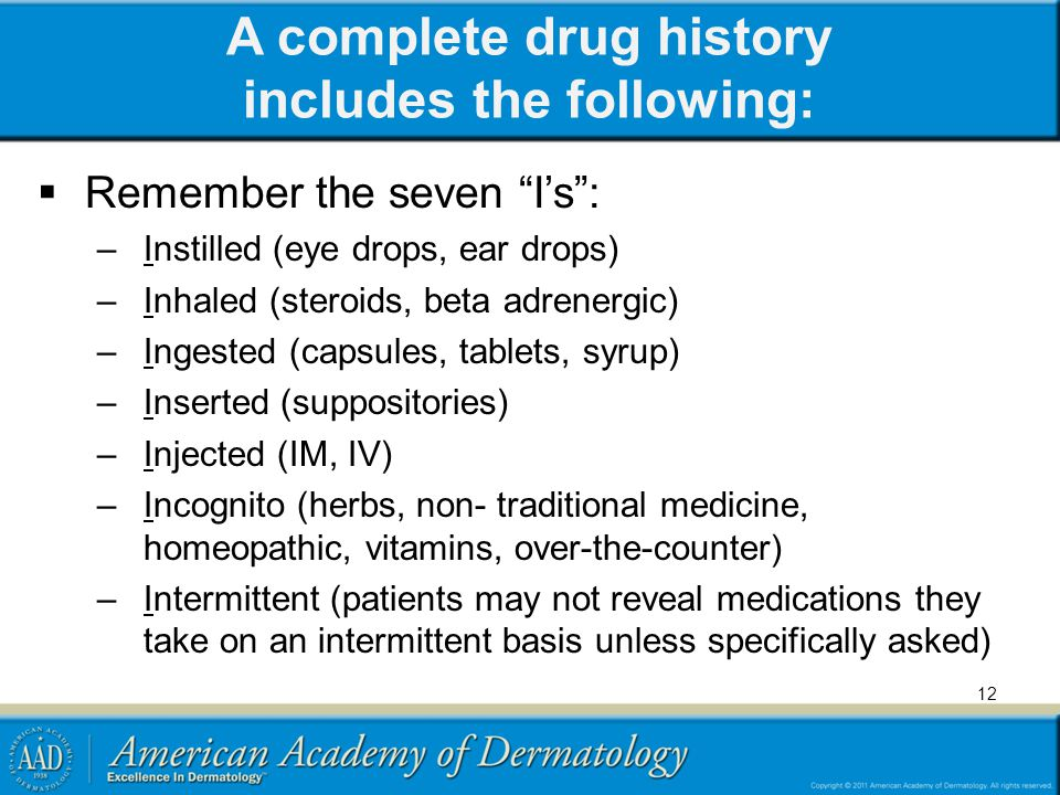 A complete drug history includes the following:
