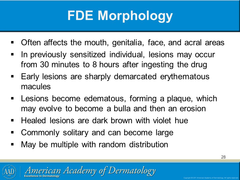 FDE Morphology Often affects the mouth, genitalia, face, and acral areas.