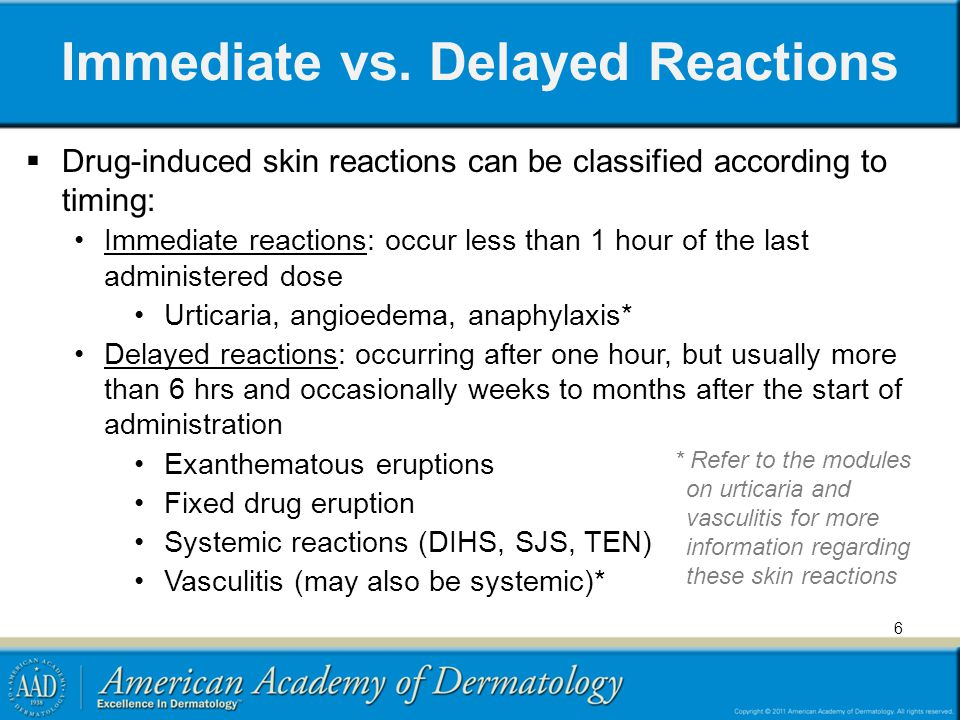 Immediate vs. Delayed Reactions