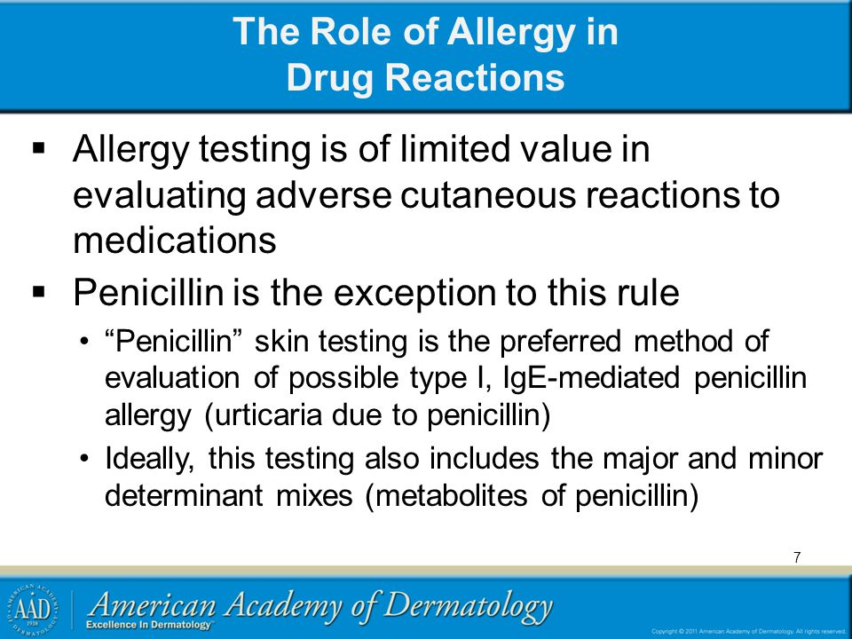 The Role of Allergy in Drug Reactions