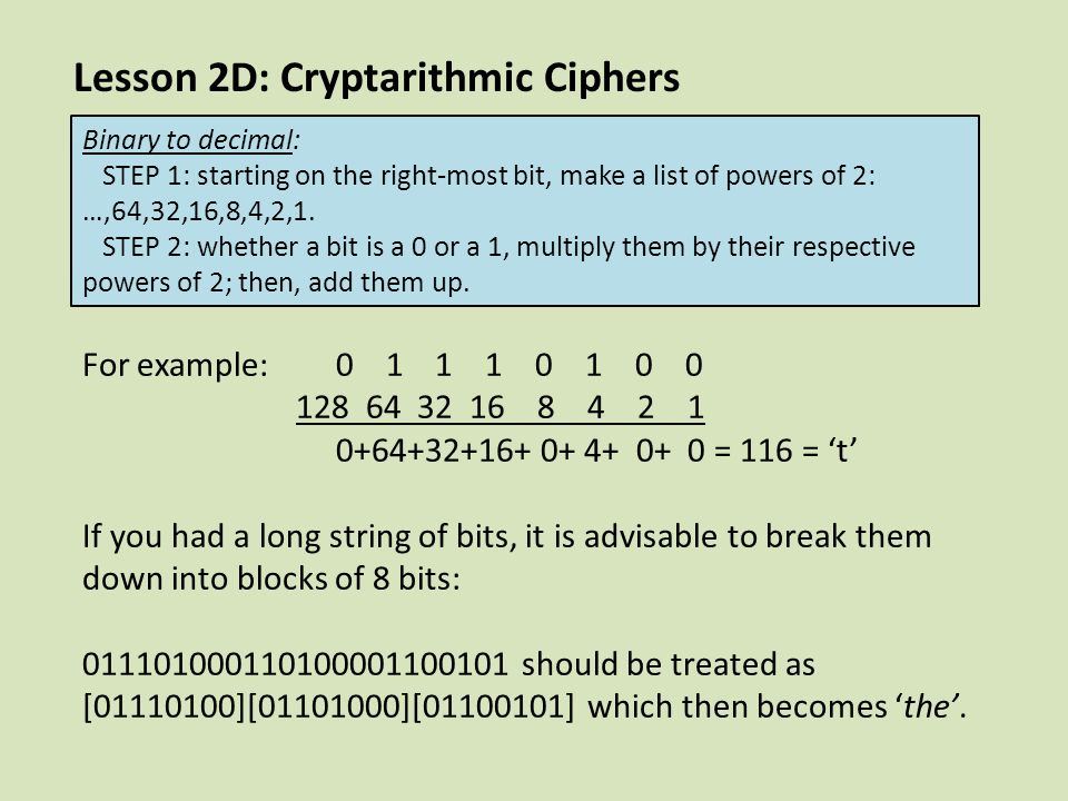 Lesson 2D: Cryptarithmic Ciphers