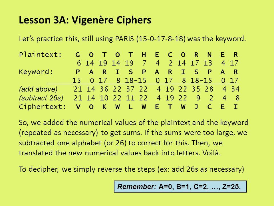Lesson 3A: Vigenère Ciphers