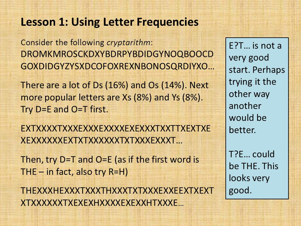 Lesson 1: Using Letter Frequencies