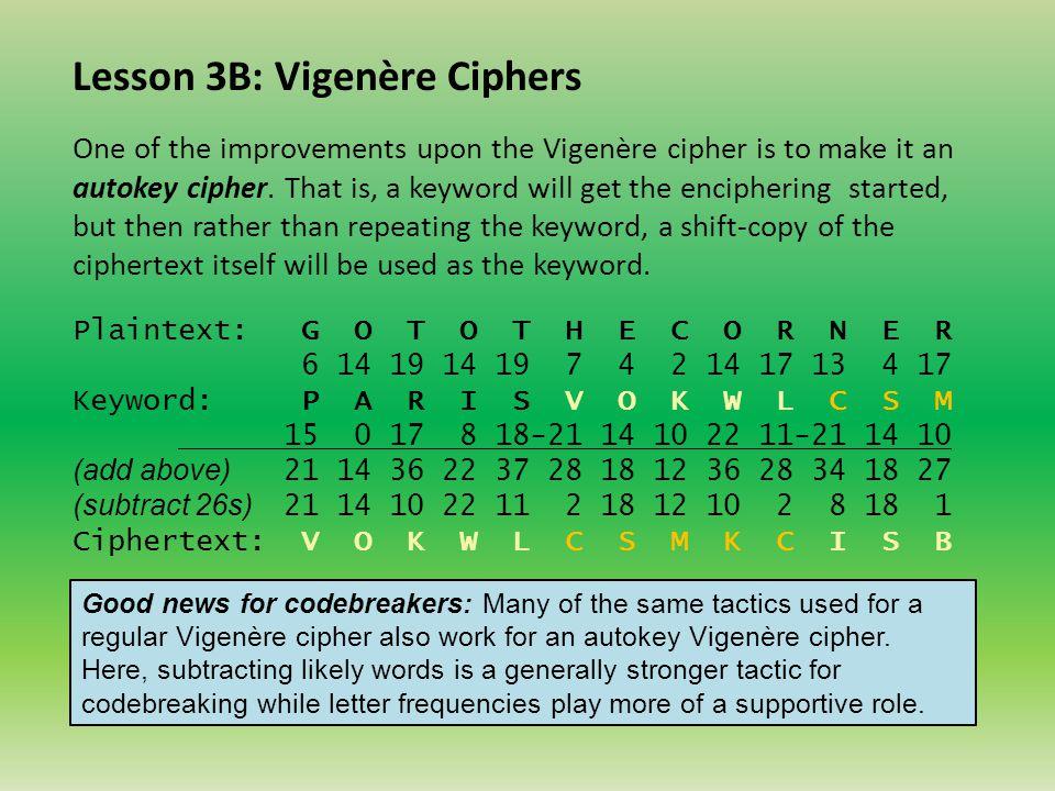 Lesson 3B: Vigenère Ciphers