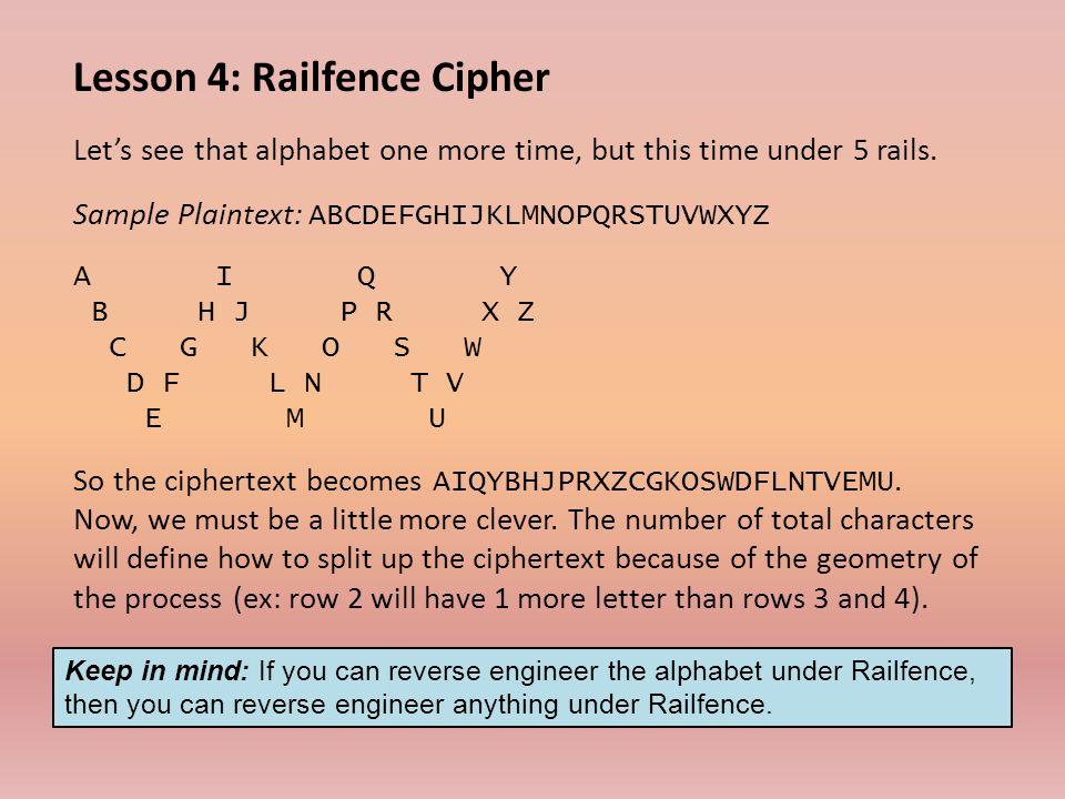 Lesson 4: Railfence Cipher