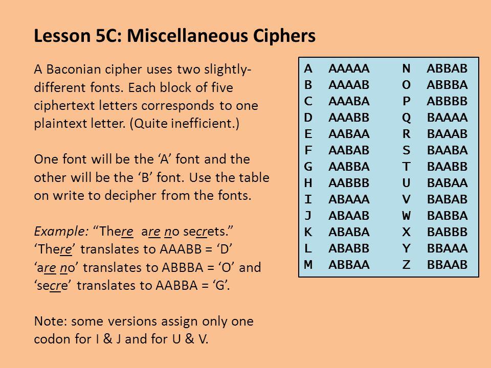 Lesson 5C: Miscellaneous Ciphers
