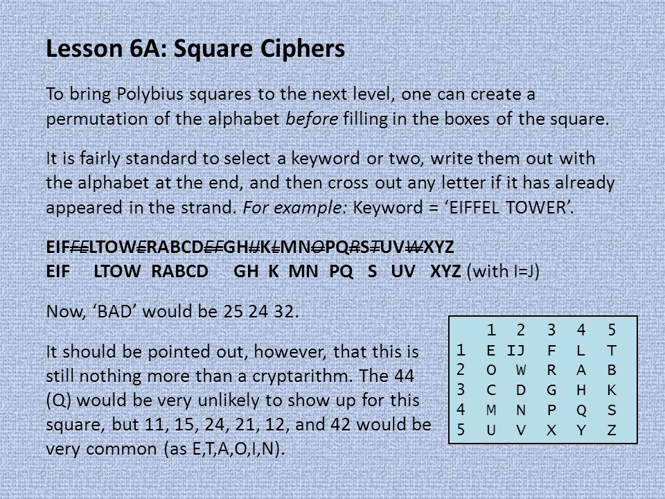 Lesson 6A: Square Ciphers