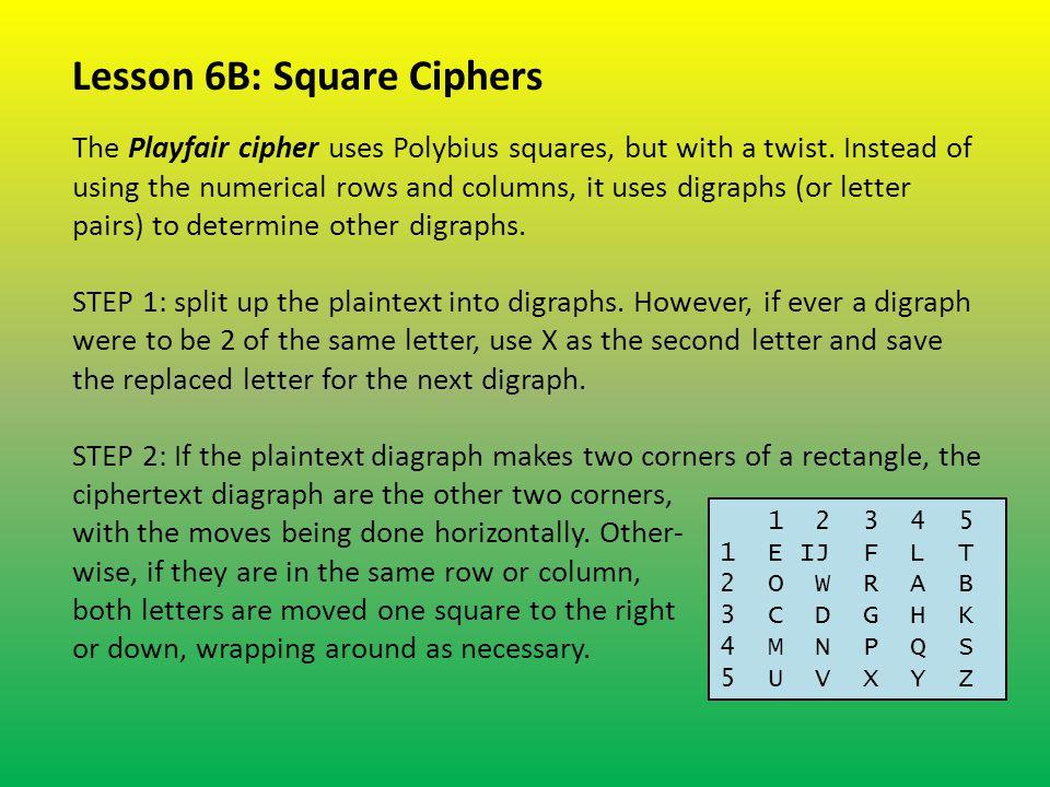 Lesson 6B: Square Ciphers