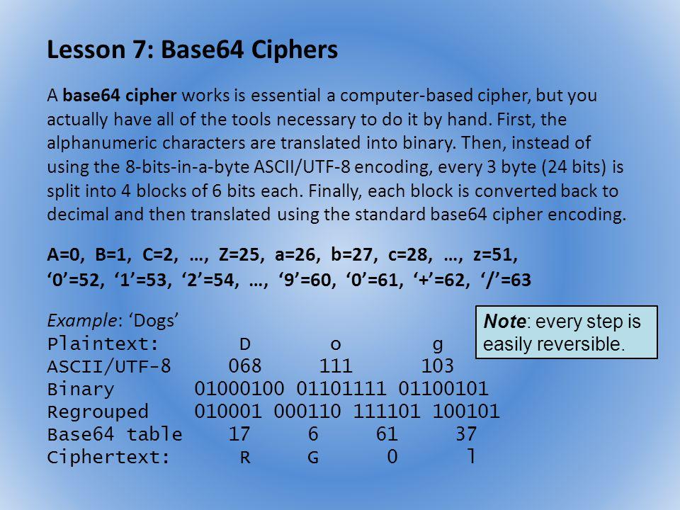 Lesson 7: Base64 Ciphers