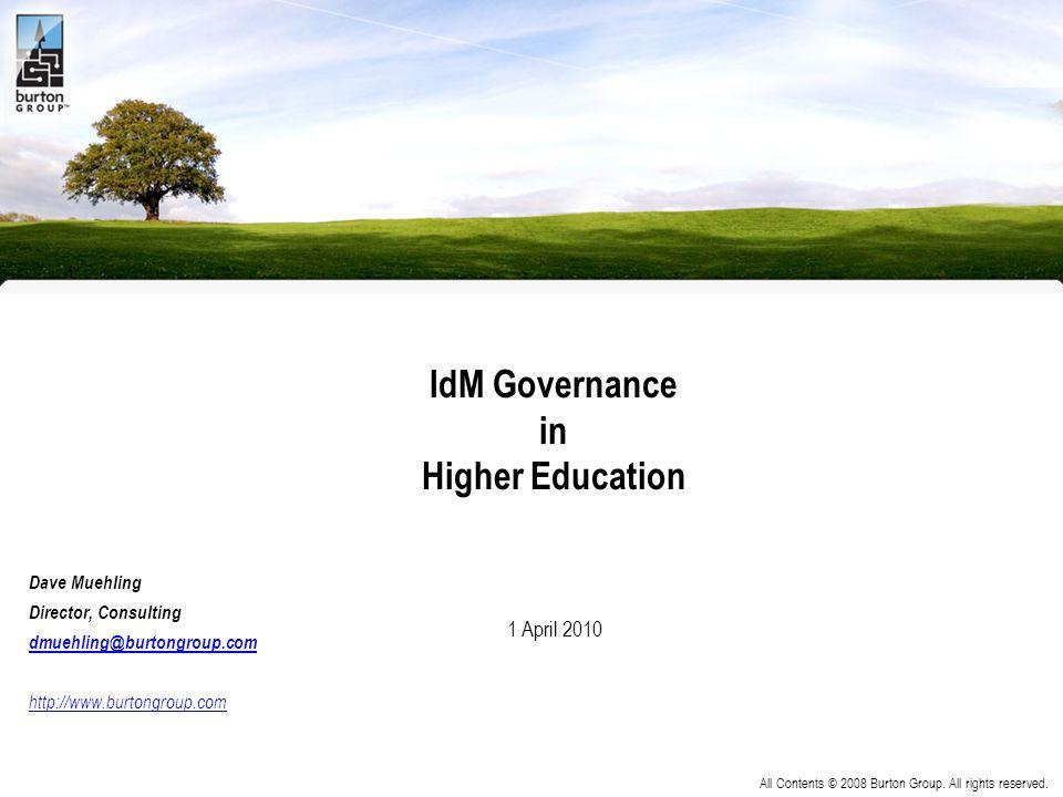 IdM Governance in Higher Education