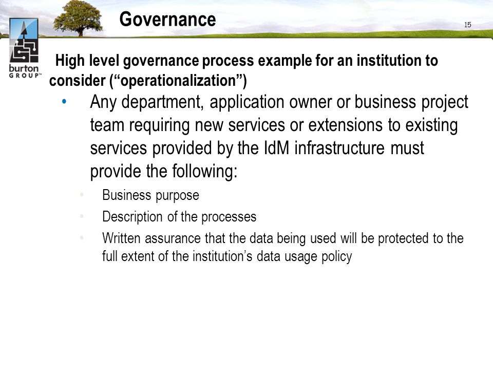 Governance High level governance process example for an institution to consider ( operationalization )
