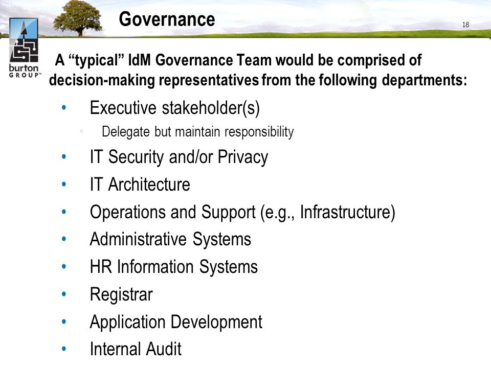 Governance Executive stakeholder(s) IT Security and/or Privacy