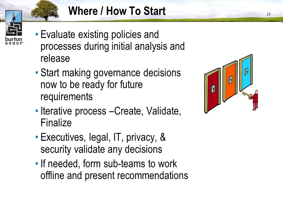 Where / How To Start Evaluate existing policies and processes during initial analysis and release.