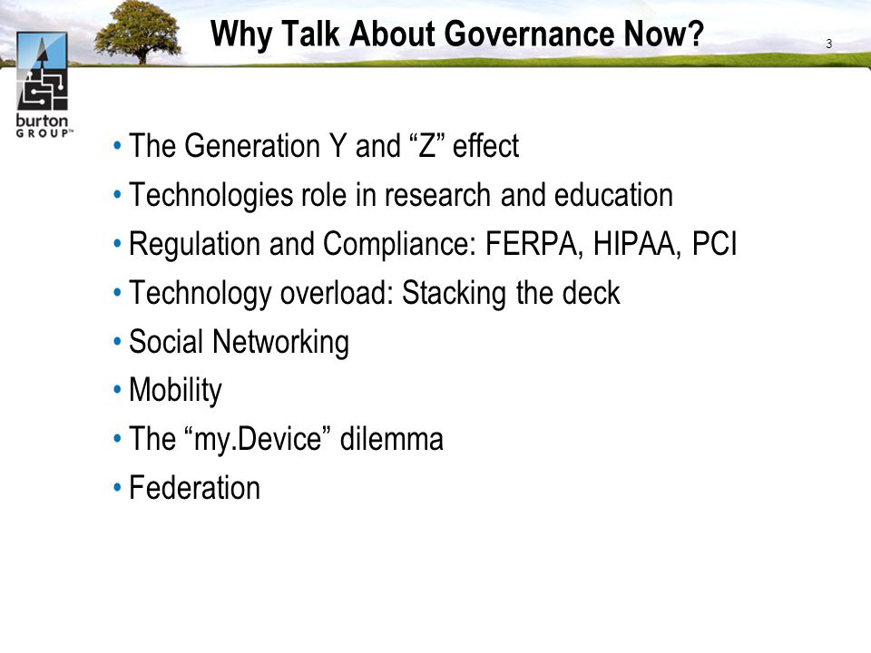 Why Talk About Governance Now