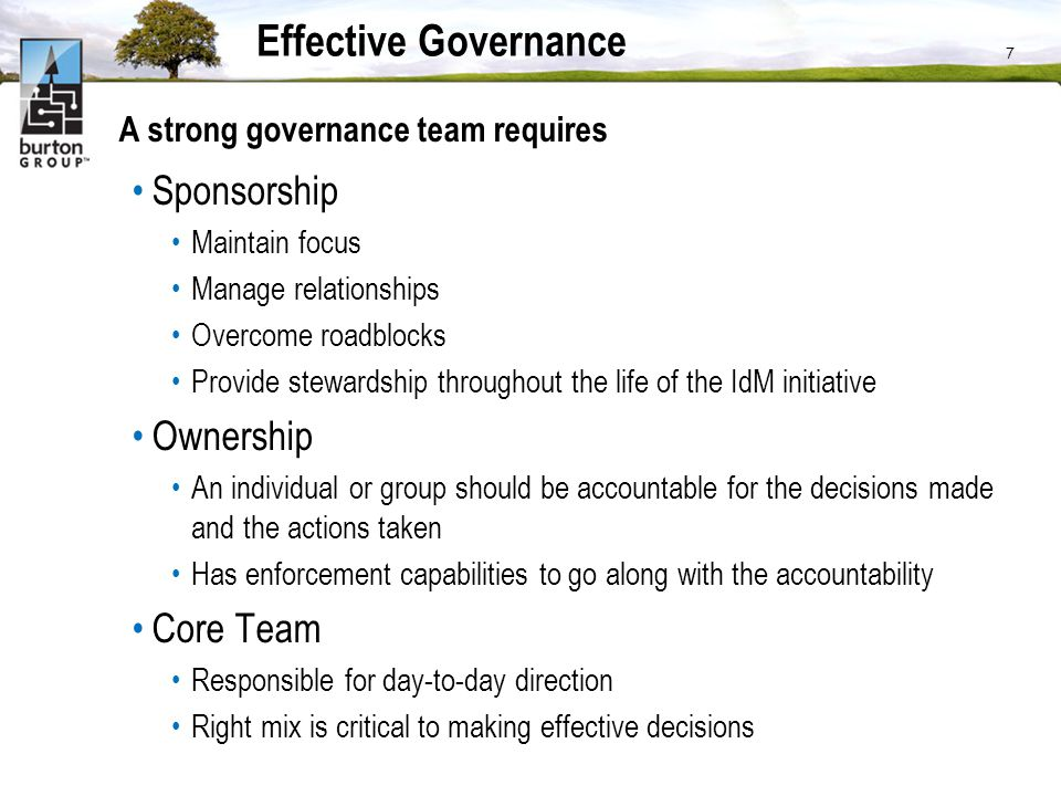 Effective Governance Sponsorship Ownership Core Team