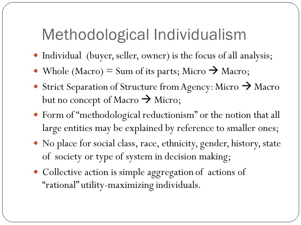 Methodological Individualism