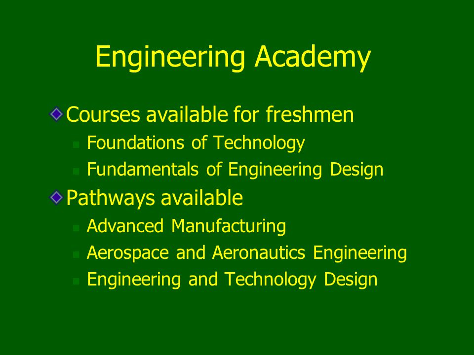 Engineering Academy Courses available for freshmen Pathways available