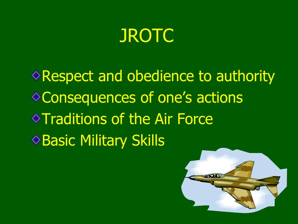 JROTC Respect and obedience to authority Consequences of one's actions