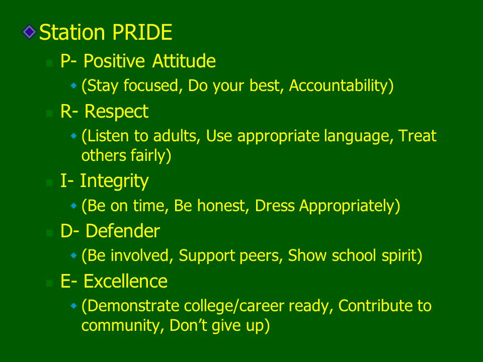 Station PRIDE P- Positive Attitude R- Respect I- Integrity D- Defender