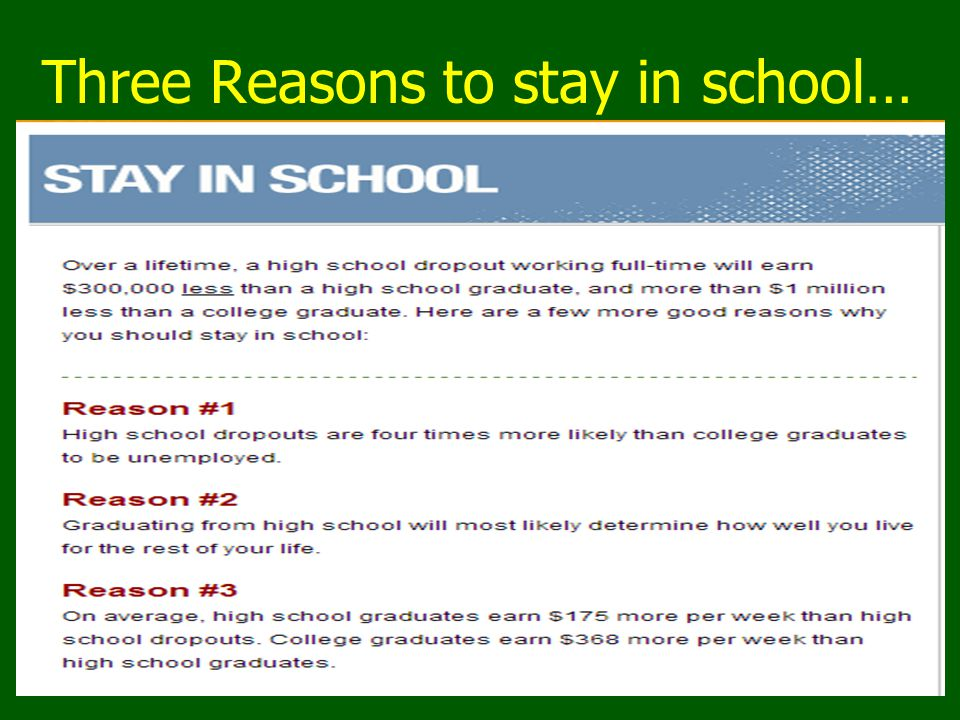 Three Reasons to stay in school…