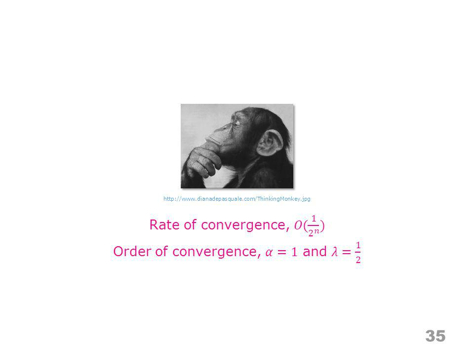 Rate of convergence, 𝑂( 1 2 𝑛 ) Order of convergence, 𝛼=1 and 𝜆= 1 2