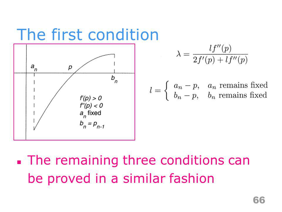 The first condition The remaining three conditions can be proved in a similar fashion