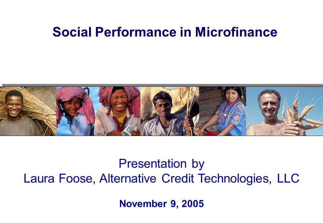 Social Performance in Microfinance