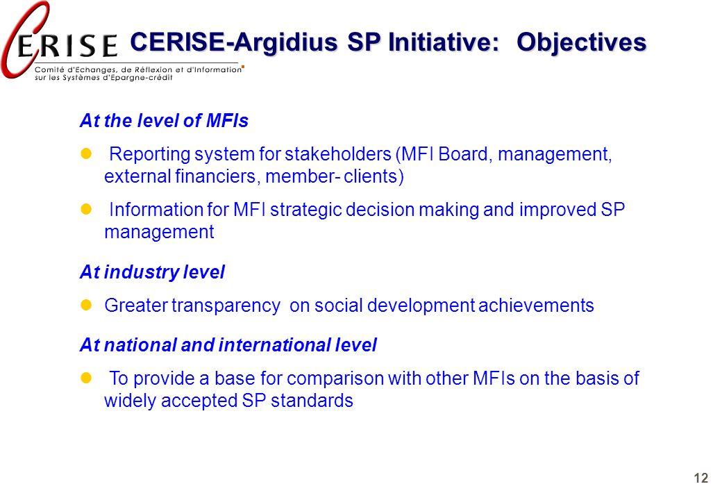 CERISE-Argidius SP Initiative: Objectives