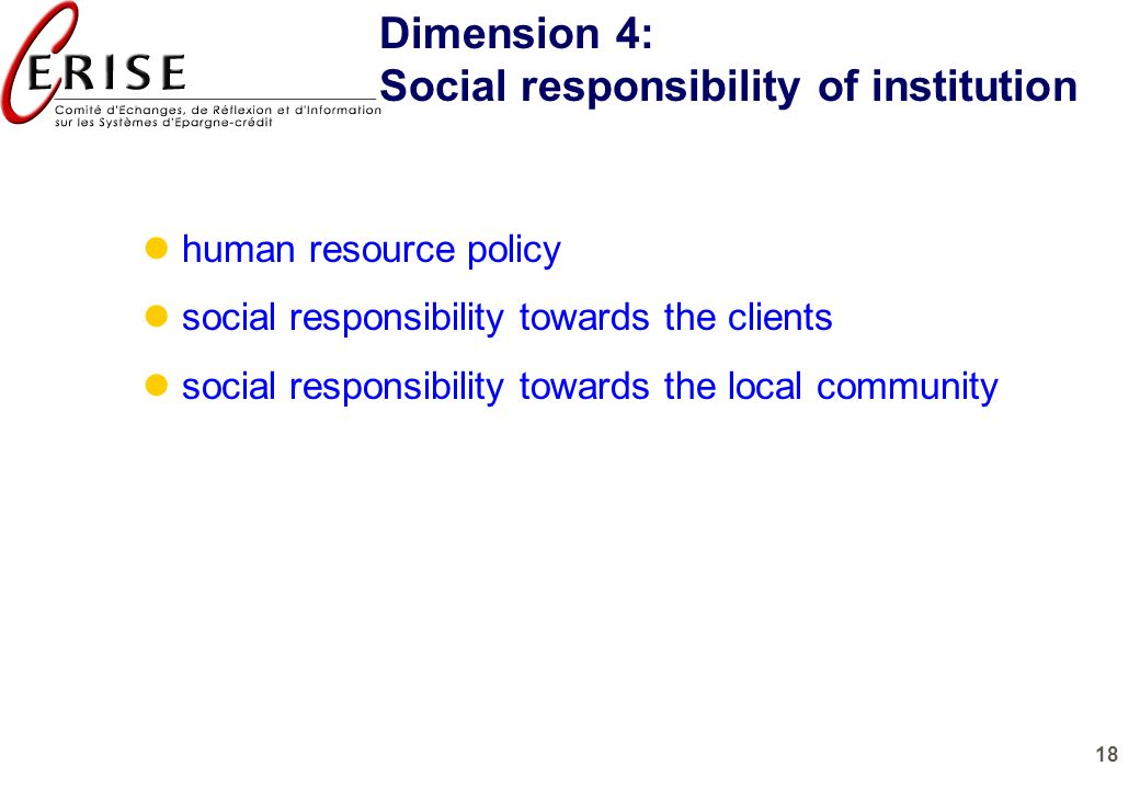 Social responsibility of institution