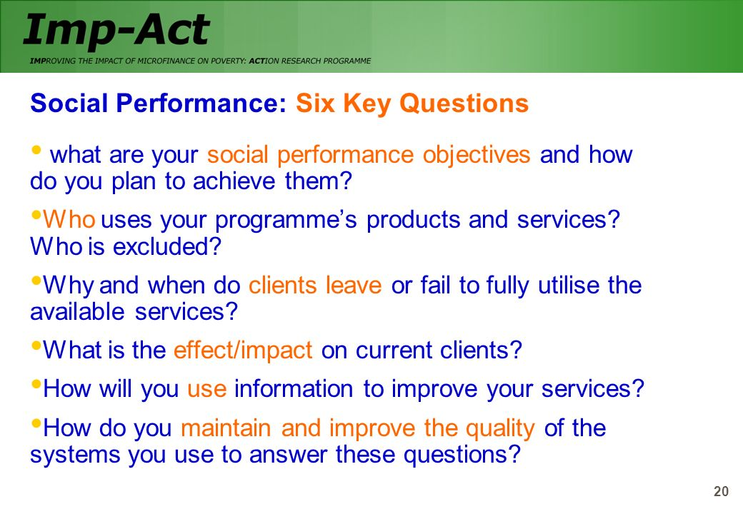 Social Performance: Six Key Questions