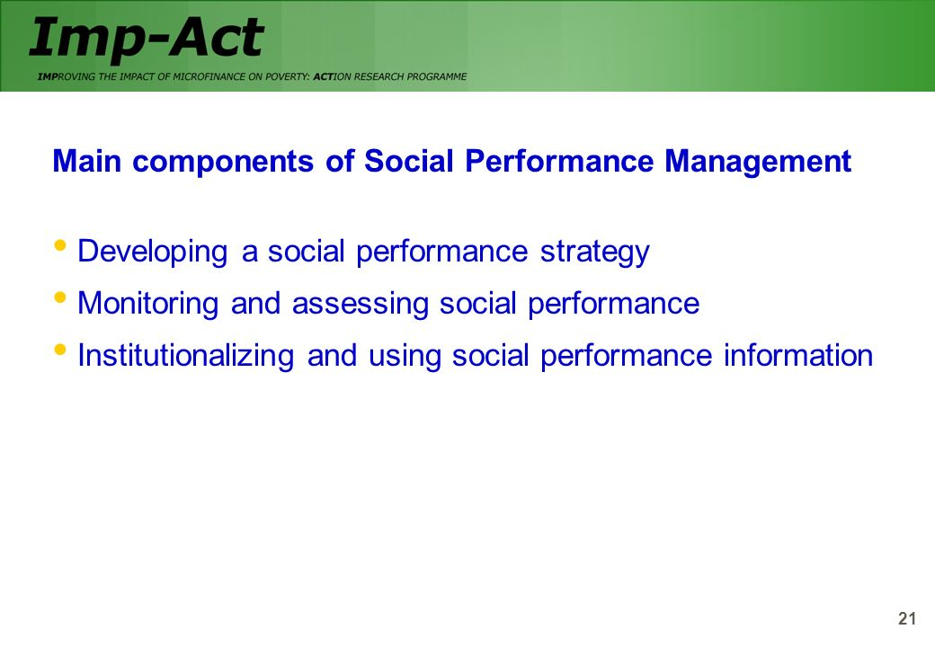 Main components of Social Performance Management